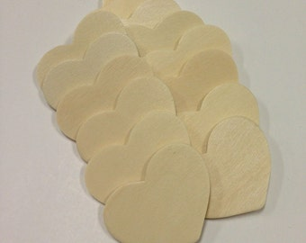25 Unfinished Wooden Tags - Heart Shaped Tags - 1 1/2  x 2  inch  Ready to Embellish