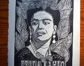 Hand Printed Frida Kahlo Linocut Print