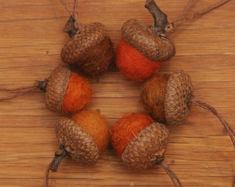 Orange Wool Felted Acorns or Acorn Ornaments