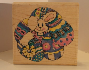 Easter Bunny with Large EGGS Rubber Stamp