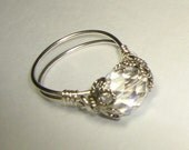 Ring, Jewelry, Clear Auroa Borealis Czech Crystal Ring, Sterling Silver