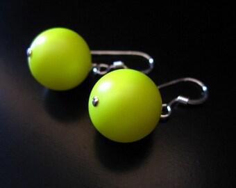 Neon Yellow Earrings, Swarovski Elements Round Pearl Crystal Neon Yellow Sterling Silver Earrings, Yellow Globe Earrings, Neon Jewelry
