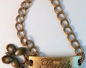 Altered Art Butterfly Angel Wing Faith Brass Antique Toggle Charm ID Bracelet