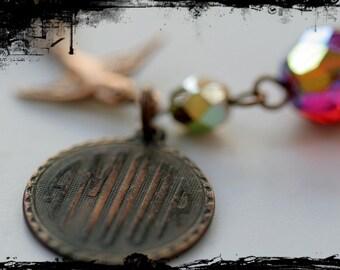 Gothic Amour bracelet, French charm, Valentine's gift, bird bracelet, red stone jewelry