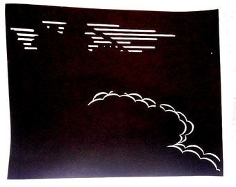Vintage Japanese Stencil Clouds Flowers Lines 25 Years Old Katagami