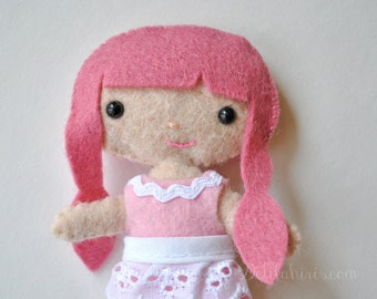 Felt Doll Pattern Sassy Cutie Pie Pocket Doll - PDF Miniature Doll Pattern