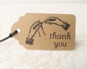 Thank You Crochet Tags Kraft Paper Handmade Tags Set of 25