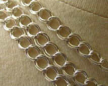 Bright Shiny Silver Plated Plated Double Link Curb Chain 8mm by 6mm 1 Foot 31 cm