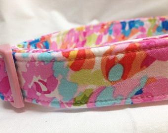LIMITED- Girl Dog Collar Pink Flowers Fabric Watercolor