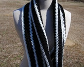 Black and White Stripe Cowl Scarf
