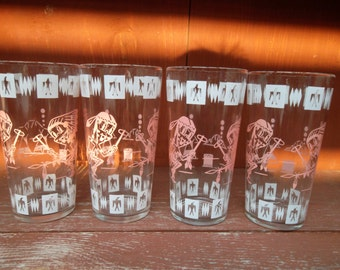Hazel Atlas Native American Indian Character 16 ounce Beverage Glass Set of 4 Superb