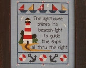 Finished and Framed Lighthouse Cross Stitch Picture