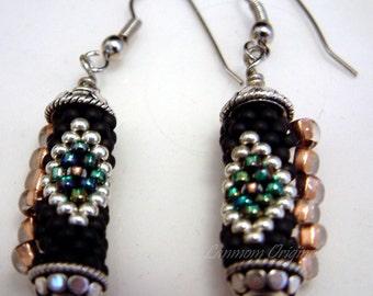 Southwestern Earrings Black Diamonds Bead Crochet Rope in Black Silver Copper and Aqua Seed Beaded Jewelry