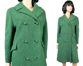 Vintage Winter Trench Coat M Green Black Wool Tweed Long Jacket Double Breasted Free US Shipping
