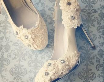 SALE!  Ivory Vintage Lace Wedding Shoes with Crochet Flower Applique Satin Bridal Pumps Silver