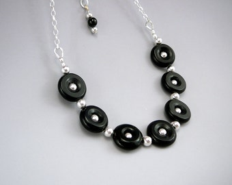 Black Bead Necklace, Circle Necklace, Unique Gift for Women, 925 Silver, Black Jewelry Gift, Black Necklace for Her, Petite Necklace
