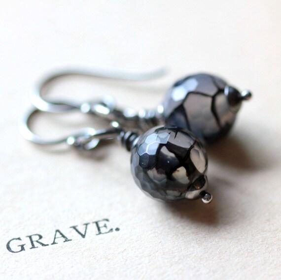 Black Widow - Spider Web Agate on Sterling Silver Hoop Earrings - Halloween Fall Fashion Earrings Spooky