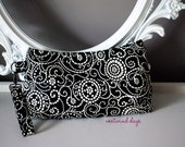 Coraline Clutch Wristlet ~ Black and White Swirls