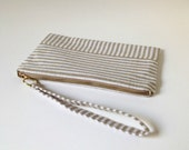 SALE - 20% off! Tan and White Cotton and Linen Striped Zipper Pouch, Wristlet, Clutch Wallet