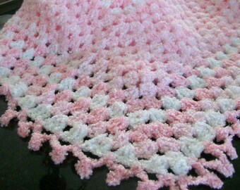 Pink and White Crocheted Baby Blanket