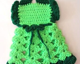 Lime Green Pot Holder Crocheted Dress