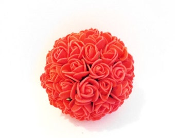 Coral Wedding pomander kissing ball decoration Set of 10