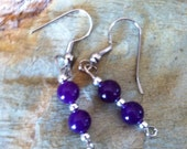 Purple and  Silver Bead Earring Set (311)