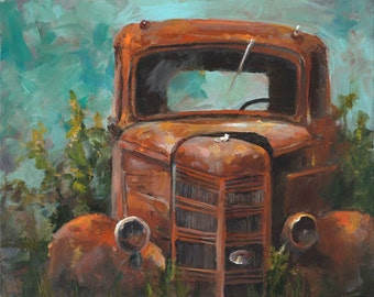 Truck Painting - Memories - Paper Giclee Print of an Original Painting