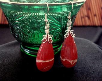Brecciated Jasper Gemstone Wire Wrapped Silver Pierced Earrings