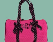 Monogrammed Duffle Bag Hot Pink With Black Trim-Personalization Included-Dance Recital-Travel-Gymnastics