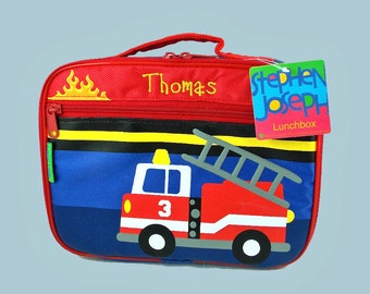 Stephen Joseph Child's FIRETRUCK Themed Lunch Box Personalized For Free
