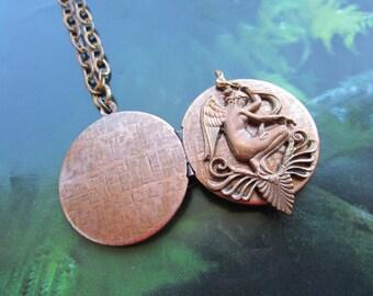 Vintage Woodland Angel On Vintage Locket Necklace