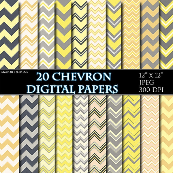 Yellow Digital Paper Chevron Scrapbooking Paper Gray Geometric