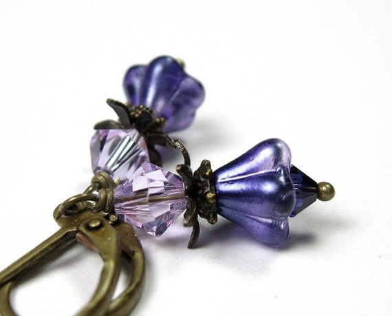 Lilac and Purple, Vintage Style, Flower Earrings, Swarovski Crystal, Czech Glass, Antiqued Brass, Gifts for Her, Womens Accessories