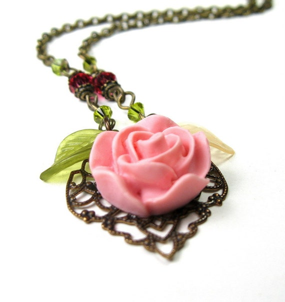 Resin Flower Necklace, Rose Pink, Womens Accessories, Swarovski Crystal, Fashion Jewelry, Gifts for Gardeners, Under 40, Mothers Day