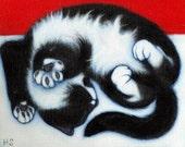 Paws.  Archival 8.5x11 tuxedo cat print