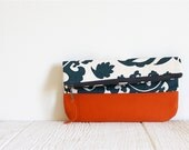 Fold Over Clutch, Print Clutch, Vegan Clutch, Orange and Blue Print