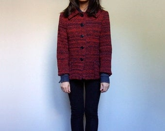 1960s Knit Coat Vintage 60s Red Blue Collared Fall Winter Button Up Jacket Pockets - Medium M