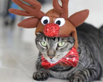 Rudolph the red nosed reindeer hat for dogs and cats