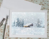 Winter Notecards, Set of Five Greeting Cards, Barn in Snow, Holiday Note Cards