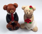 Wedding Cake Topper, Bear, Personalized Cake Topper, Bride and Groom, Polymer Clay, Wedding Decoration, Handmade Figurines