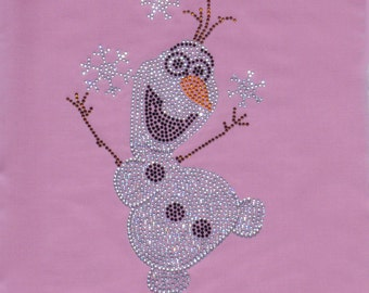 Frozen OLAF bling iron on rhinestone TRANSFER for Disney t-shirt