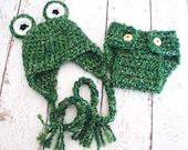 Frog Hat and Diaper Cover Set Crochet Baby Hat Newborn Hat Photography Prop