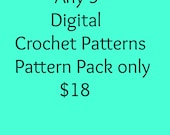 Package deal 5 digital crochet pattern pack for only 18 dollars