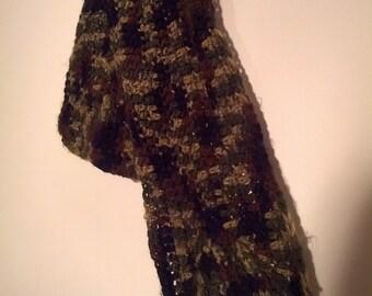 hand knit camo scarf camouflage boho bohemian rhapsody punk grunge skater