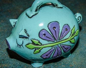 Vintage 1960s Blue Purple and Green Piggy Bank