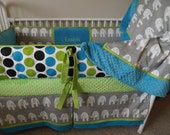 Gray Turquoise and Lime elephant Baby bedding Crib set DEPOSIT