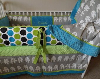 Gray Turquoise and Lime elephant Baby bedding Crib set DEPOSIT Down payment ONLY