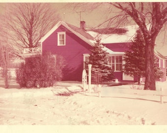 Andover Red House Outside Snow Christmas 1956 Kodacolor Print Vintage 50s Color Photo Photograph
