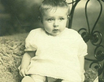 Deep In Thought Baby Boy Sitting Studio Portrait RPPC Real Photo Postcard Vintage Antique Black White Photo Photograph